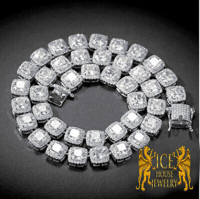White Gold Tone 5mm Ice Cube Flower Cluster Square Links Custom Chain 20~22 Inch](Custom Ice Cubes)