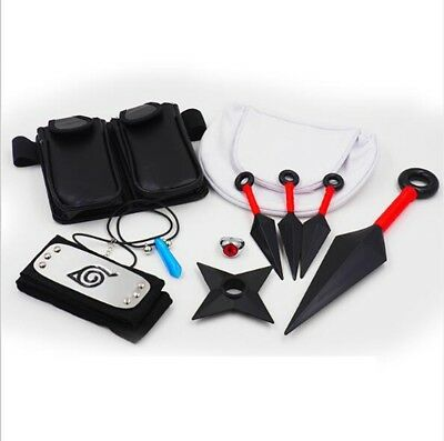 10pcs Naruto Itach Cosplay Ninja Kunai Shuriken Headband Necklace Bag Ring Set