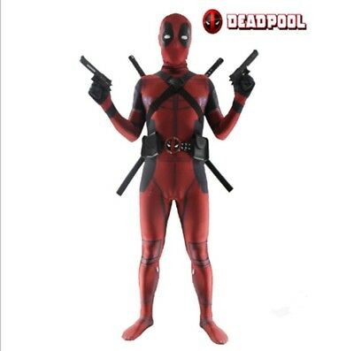 Deadpool Costume Adult Man Spandex Lycra Zentai Bodysuit Cosplay Suit US!