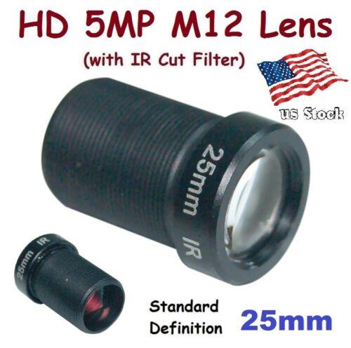 "Sunvision 1/2.5"" HD 5MP Monofocal 25mm 11° M12 Board Lens + IR Cut Filter FPV"