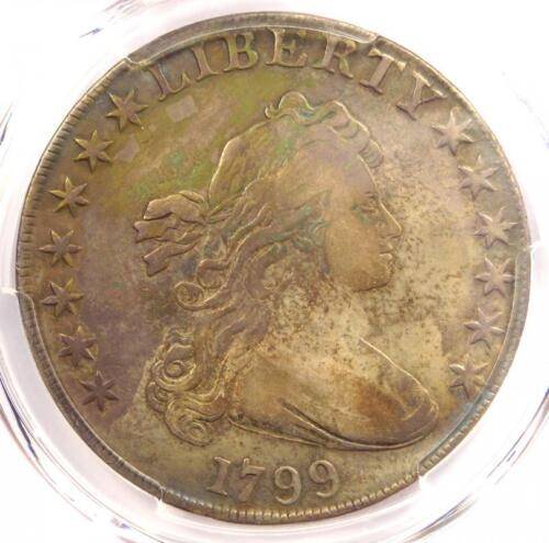 1799 Draped Bust Silver Dollar $1 Coin BB-165 B-8 - PCGS VF Detail - Rare!