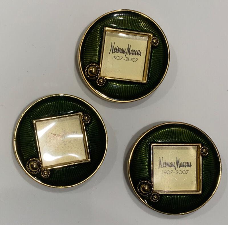 LOVELY Set of 3 Neiman Marcus Jay Strongwater 1907-2007 Enamel Green Frame