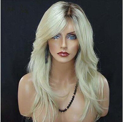 US Women Long Straight Blonde Ombre Wig Natural Looking Hair Synthetic Full -