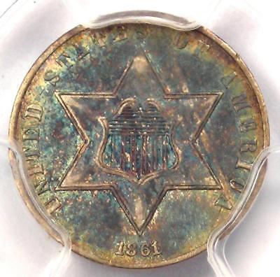 1862 Three Cent Silver Piece 3CS - PCGS AU Details - Rare Civil War Date!