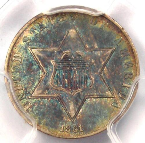 1861 Three Cent Silver Piece 3CS - PCGS AU Details - Rare Civil War Date!