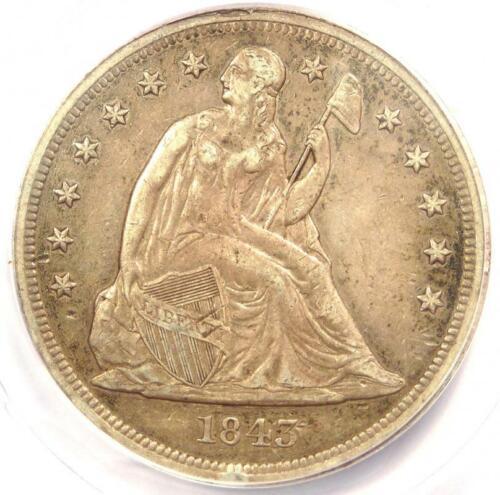 1843 Seated Liberty Silver Dollar $1 Coin - ANACS AU50 Details - Rare Coin!