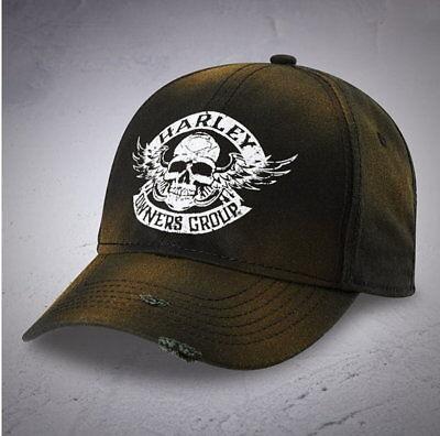 Harley Davidson Owners Group Hog Distressed Winged Skull Hat Ball Cap Baseball
