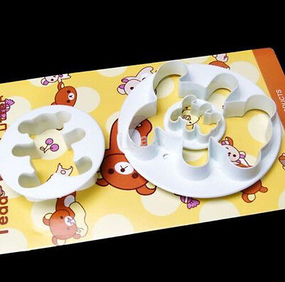 3Pcs Cute Teddy Bear Biscuit Cookie Fondant Cake Icing Cutter Mold Decor Set