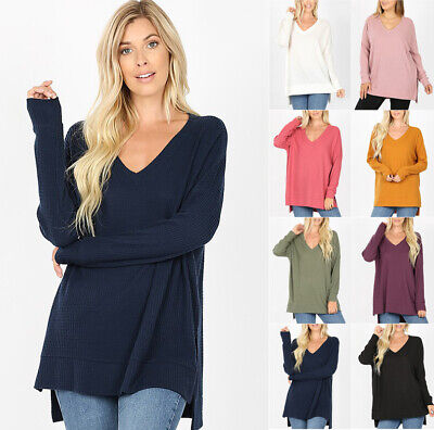 Women's Oversize Sweater Tunic Waffle Knit Long Sleeve V-Neck Loose Pullover Top Waffle Knit Sweater