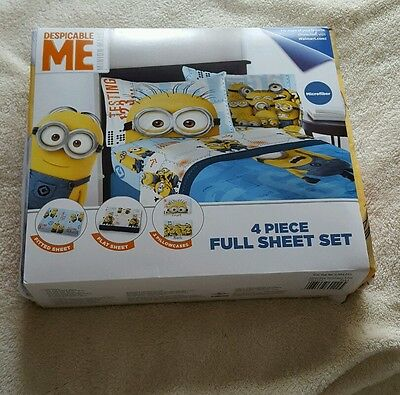 Minion Sheet Set (NEW IN BOX ♡ SET OF DESPICABLE ME MINION MADE ♡ 4 PIECE FULL SHEET SET ♡)