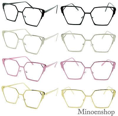 Ladies Square Metal Frame Designer Cat Eye Clear Lens Glasses VTG Women's 80's