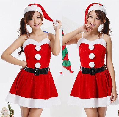 Completo Vestito Costume Natalizio Christmas Natale Capello Abito Miss Santa