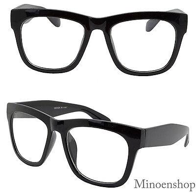 Thick Black Celebrity Mens Vintage Clear Lens Glasses Bold Frame Hip Hop Geek