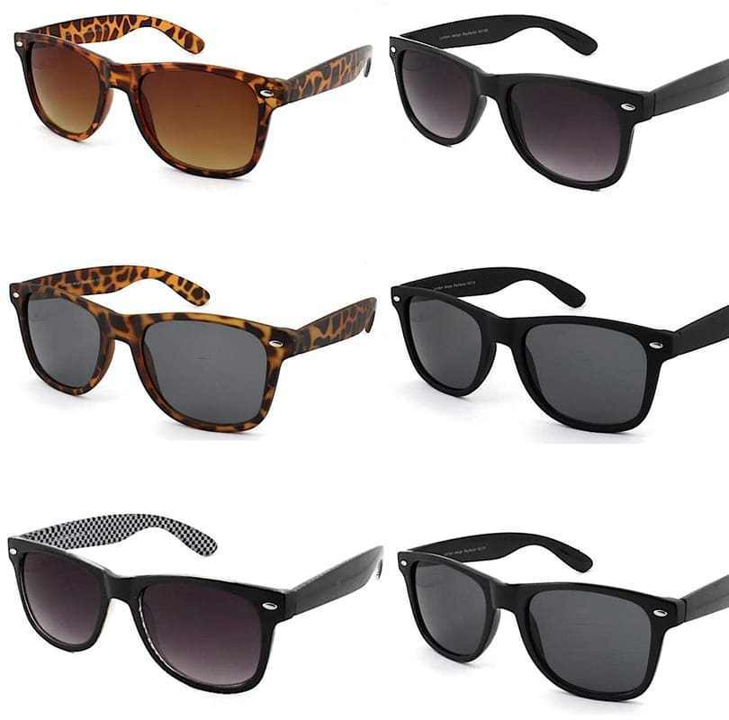 Designer Black Men Sunglasses Vintage Retro Classic Women 80's 29IEDH