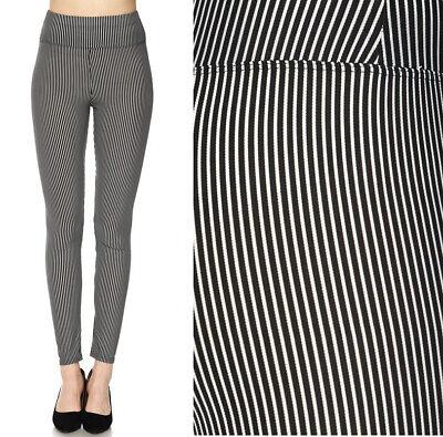 S-3X Women's High Waist Striped Leggings Black White Long Full Length Stretch