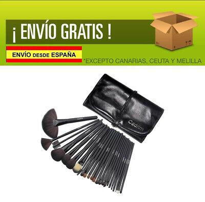 Brochas NEGRAS de Maquillaje,Cadrim 24pcs Profesional Cosméticas + Bolso Negro
