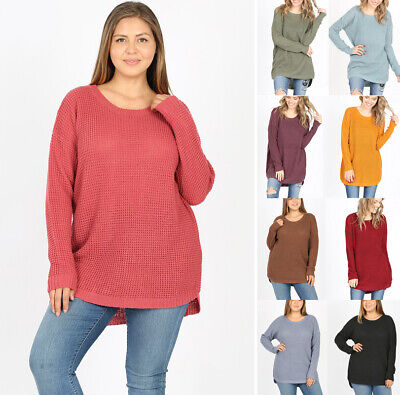 Women's Oversized Waffle Knit Sweater Solid Color Long Sleeve Tunic Loose Top Waffle Knit Sweater