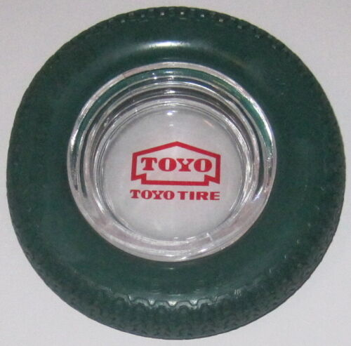 VINTAGE TOYO TIRES ADVERTISING ASHTRAY W/ GREEN TIRE RADIAL Z-2 MADE IN JAPAN