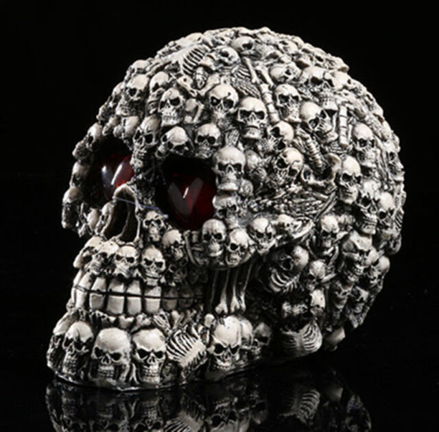 LED HOMOSAPIENS SKULL STATUE FIGURINE HUMAN SHAPED SKELETON HEAD HALLOWEEN DECOR