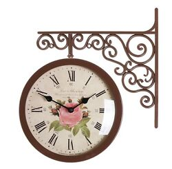 Antique Art Design Double Sided Wall Clock Station Clock Home Decor - Flower1BR
