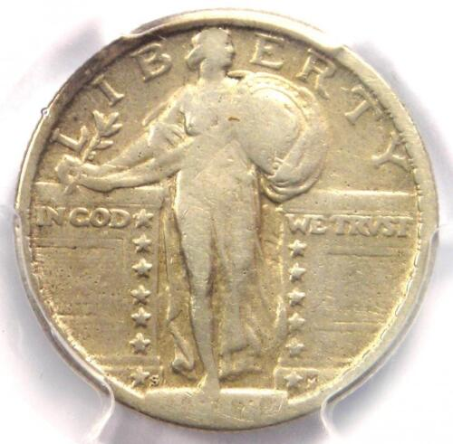 1918/7-S Standing Liberty Quarter 25C Coin - PCGS Fine Details - Rare Overdate!