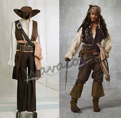 Halloween Pirates Of The Caribbean Captain Jack Sparrow Cosplay Costume Outfits
