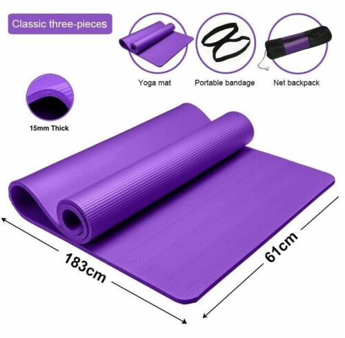 YOGA MAT FOR PILATES GYM EXERCISE 12MM THICK LARGE NBR 183x61cm FREE BAG & STRAP
