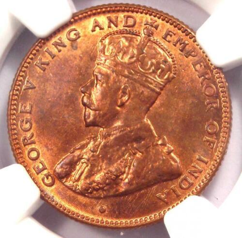 1916 Straits Settlements George V Half Cent 1/2C Coin - NGC MS65 RB (Gem BU)!