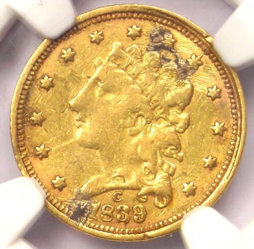 1839-C Classic Gold Quarter Eagle $2.50 - NGC XF Details - Charlotte Coin!