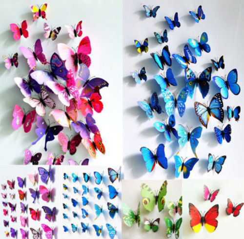 New 12pcs 3D Butterfly Wall Stickers Art Design Decal Room Home Decor DIY