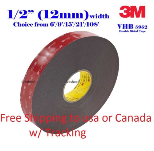 "3M 1/2"" x 9/15/21/108 VHB Double Sided Foam Adhesive Tape 5952 Gopro Action Can"