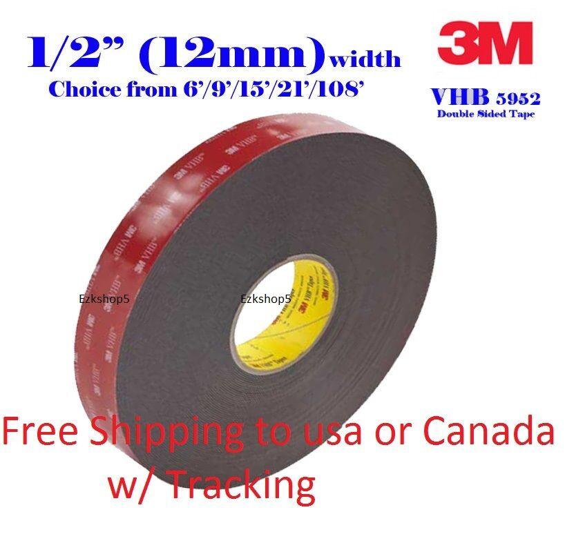 "3M 1.5/""In x 9/'Ft VHB #5952 Double Sided Foam Adhesive Tape Automotive Mounting"