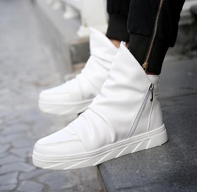 Fashion Men Punk High top Ankle Boots Zipper Sneaker Athletic Casual Board Shoes ()