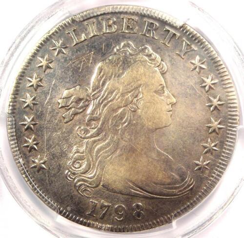 1798 Draped Bust Silver Dollar $1 BB-120 B-12 - PCGS VF Details - Rare Coin!