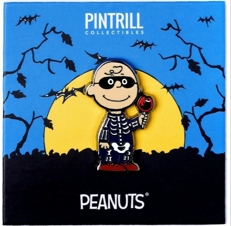 PINTRILL x PEANUTS - Charlie Brown Skeleton Pin *EXCLUSIVE* Halloween Collection