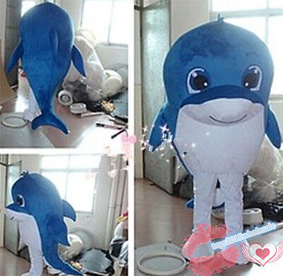 2018 Hot Dolphin Mascot Costume Festival Halloween Party Fancy Dress Handmade uk