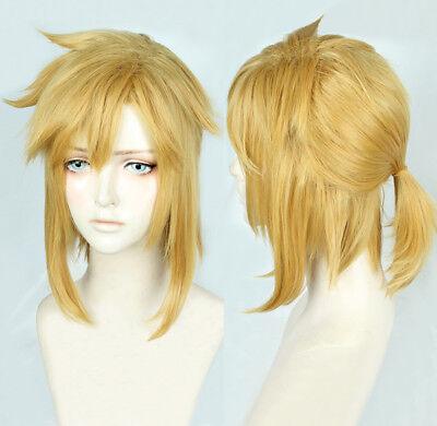 Legend Of Zelda Link Wig (The Legend of Zelda Link Short Golden Yellow Cosplay Pony tail Wig + Track +)