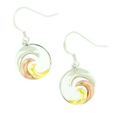 (Sterling Silver Tri-Color Wave Dangle Earrings)