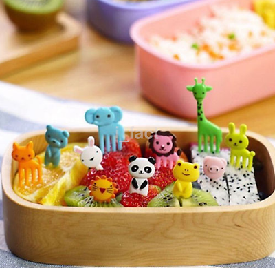 10pcs Cute Animal Food Fruit Picks Forks Lunch Box Accessory Decor Tools New CA