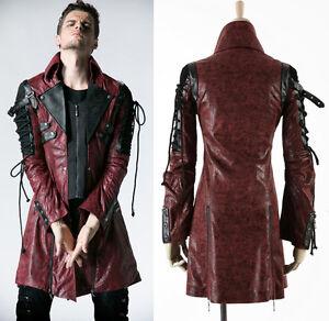 veste gothique punk lolita steampunk sangle la ages simili cuir rouge homme ebay. Black Bedroom Furniture Sets. Home Design Ideas