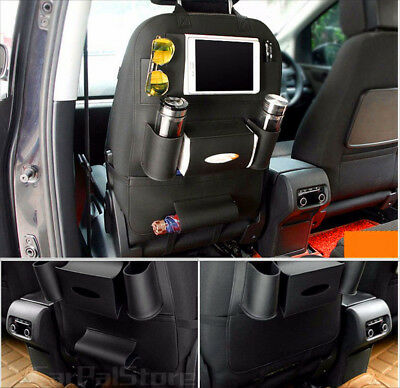 Black Leather Car Seat Back Bag Organizer Storage Cup iPad Phone Holder