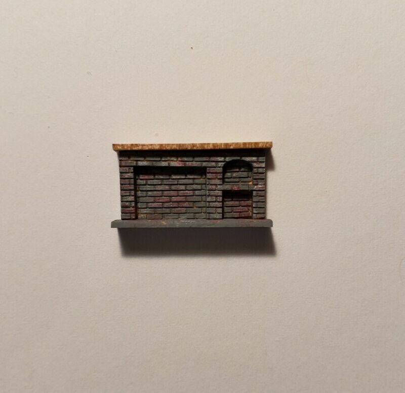 Dollhouse Miniature 1:144 Size Gray MultiColor Brick Kitchen Fireplace ASSEMBLED