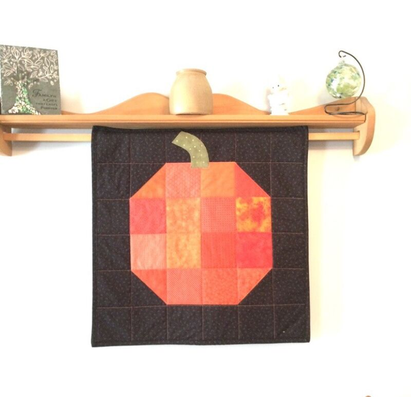 """Big Pumpkin Wall Hanging or Table Topper, Quilted Fall Decor, 24"""" x 24"""""""