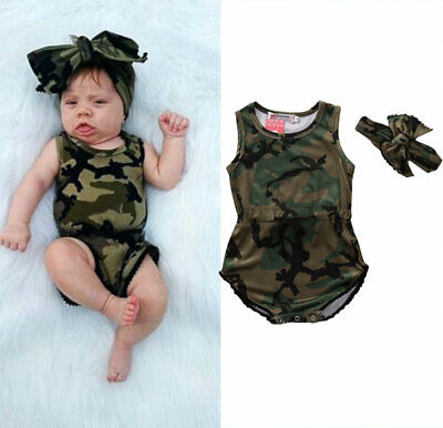 US Cute Infant Baby Girls Camo Romper Bodysuit Jumpsuit Headband Outfits Clothes