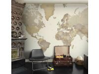World Map Wallpaper - Mr Perswall. Size = 325cm (w) x 331cm (h)