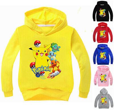 Pokemon Pikachu Mädchen Jungen Kinder T-shirt Shirt Kapuzenpullover Pulli Kostüm