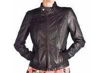 BRAND NEW REDSKINS BLACK REAL LEATHER BIKER JACKET, DISCOUNTED PRICE, GREAT BARGAIN