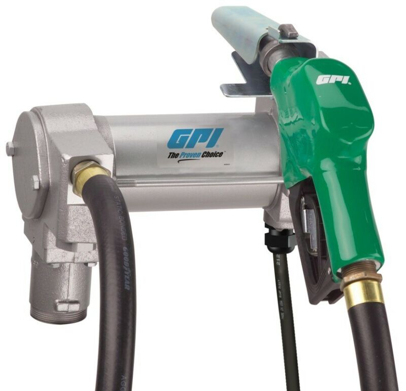 GPI 25 GPM 12V DC Fuel Transfer Pump Auto Nozzle with Vent kit M-3025-AD