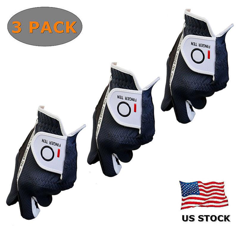 Golf Gloves Men Value 3 Pack Rain Hot Summer Grip Left Hand Right Black Gray FJ
