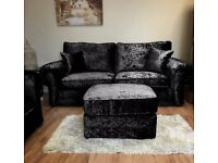**HOT SALE** BRAND NEW ANCONA CRUSHED VELVET CORNER SOFA OR 3+2 FAST DELIVERY